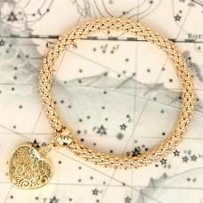 BS047-G Стрейч - браслет Сердце, металл, цвет золот.
