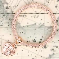 BS047-RG Стрейч - браслет Сердце, металл, цвет розовое золото