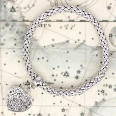 BS047-S Стрейч - браслет Сердце, металл, цвет серебр.