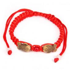 BS053 Плетеный браслет из красной нити Две рыбы