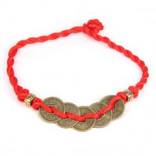BS054 Браслет из красного шнура Пять монет