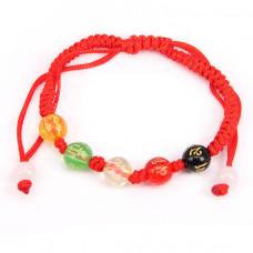 BS060 Плетеный браслет из красной нити Пять бусин