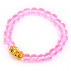BS065-1 Браслет Пи Яо, стекло 8мм, цвет розовый