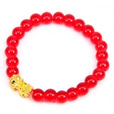 BS065-3 Браслет Пи Яо, стекло 8мм, цвет красный