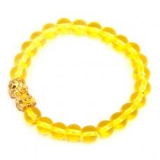 BS065-4 Браслет Пи Яо, стекло 8мм, цвет желтый