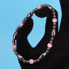 BS074-2 Магнитный браслет, гематит, розовый кошачий глаз