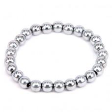 BS076 Магнитный браслет d.8мм, гематит с покрытием, цвет серебр.