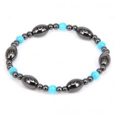 BS080 Магнитный браслет, гематит, голубые бусины