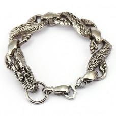 BS081-S Браслет Дракон, металл, цвет серебр.