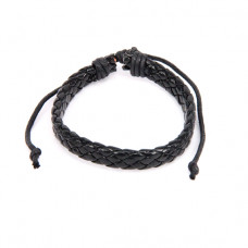 BS089-11 Плетёный кожаный браслет, чёрный