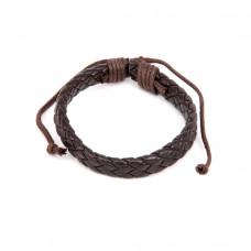BS089-12 Плетёный кожаный браслет, коричневый