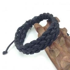 BS090-1 Мягкий плетёный браслет из вощеного шнура, цвет чёрный