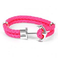 BS096-1 Кожаный браслет Якорь, цвет розовый