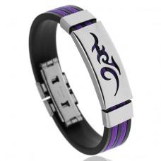 BS123-2 Браслет с титановой пряжкой, силикон, цвет чёрно-фиолетовый