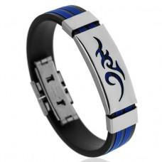 BS123-3 Браслет с титановой пряжкой, силикон, цвет чёрно-синий