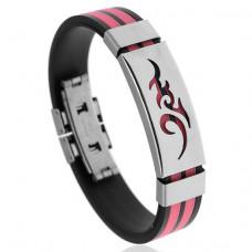 BS123-4 Браслет с титановой пряжкой, силикон, цвет чёрно-розовый