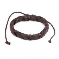 BS131 Кожаный браслет с оплёткой, цвет коричневый