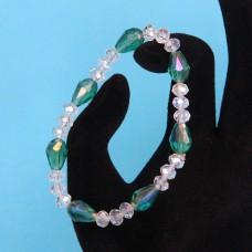 BS149-1 Стеклянный браслет с гранёнными бусинами 6-8мм, цвет зеленый