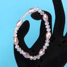 BS149-4 Стеклянный браслет с гранёнными бусинами 6-8мм, цвет розовый