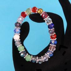 BS152-1 Браслет из стеклянных бусин с разделителями, огранка 8мм, разноцветный