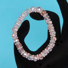 BS152-6 Браслет из стеклянных бусин с разделителями, огранка 8мм, цвет розовый