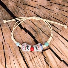 BS165 Плетёный браслет с двумя керамическими Манеки-Неко и керам.бусинами