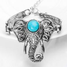 BS175 Браслет Слон с бирюзой (пресс), цвет серебр.