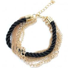 BS179 Браслет цепи и шнур, цвет чёрный с золотом