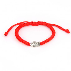 BS201 Плетёный браслет из красной нити с рыбкой