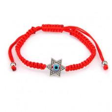 BS202 Плетёный браслет из красной нити Звезда Давида