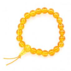 BS218-2 Буддийский браслет - чётки 8мм, пластик, цвет жёлтый