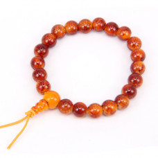 BS218-4 Буддийский браслет - чётки 8мм, пластик, цвет коричневый