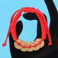 BS226 Плетёный браслет из красной нити Пять монет