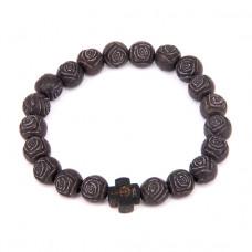 BS227-2 Христианский браслет 8мм, пластик, дерево, чёрный