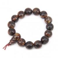 BS234 Чётки - браслет с Буддой и иероглифами 12мм, пластик