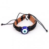 BS238 Кожаный браслет с глазом Назар, стекло