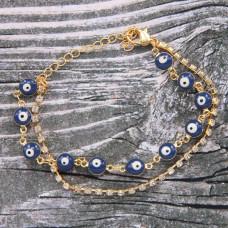 BS281 Двойной браслет От сглаза со стразами, металл, цвет золот.