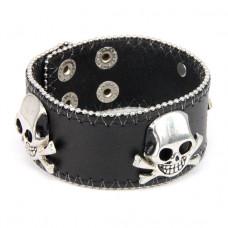 BS283 Кожаный браслет с черепами 23х3,4см, цвет чёрный