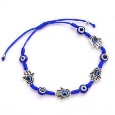 BS304 Плетёный синий браслет От сглаза