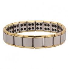 BSM006-G Магнитный браслет здоровья с турмалином 15мм, стрейч, нерж.сталь, золот.