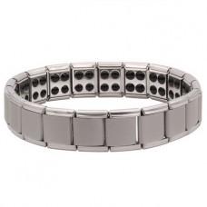 BSM006-S Магнитный браслет здоровья с турмалином 15мм, стрейч, нерж.сталь, серебр.