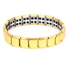 BSM007-G Магнитный браслет здоровья с турмалином 12мм, стрейч, нерж.сталь, золот.