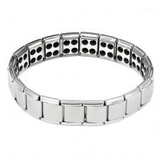 BSM007-S Магнитный браслет здоровья с турмалином 12мм, стрейч, нерж.сталь, серебр.