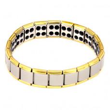 BSM007-SG Магнитный браслет здоровья с турмалином 12мм, стрейч, нерж.сталь, серебр.,золот.
