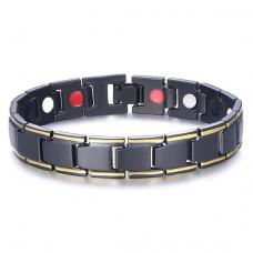 BSM012-5 Магнитный Браслет здоровья, цвет чёрн.,золот., ширина 11мм