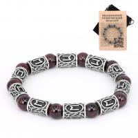 BSR006 Рунический браслет Эваз с натуральным камнем Гранат