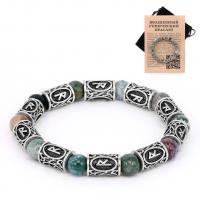 BSR010 Рунический браслет Райдо с натуральным камнем Яшма