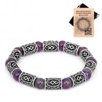 BSR012 Рунический браслет Одал с натуральным камнем Аметист