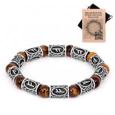 BSR017 Рунический браслет Феху с натуральным камнем Тигровый глаз