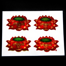 BUD004-03 Буддийские наклейки Цветок Лотоса 4шт. х 4,5х3см